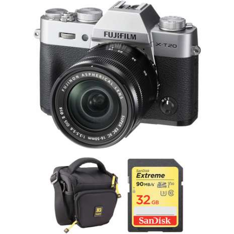 FUJIFILM X-T20 Mirrorless Digital Camera with 16-50mm Lens and Free Accessories Kit (Silver)