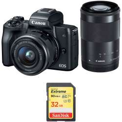 Canon EOS M50 with 15-45mm and 55-200mm Lenses and Memory Card Kit